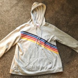 gray with rainbow hoodie (XXL) womens